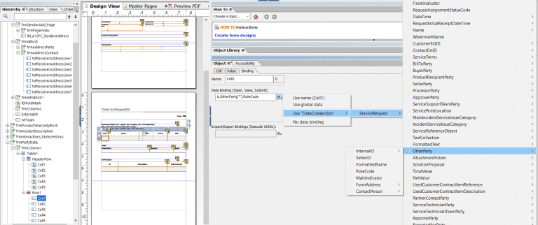 Enriching Sales/Service Cloud summaries with tables in Adobe Livecycle Designer, Acorel