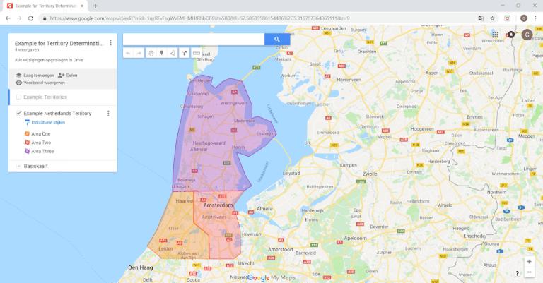 Territory Management using visual area's on google maps, Acorel